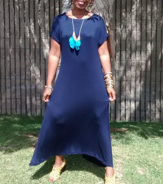 Classic Navy Cap Sleeve Jersey Maxi Dress, Loose Fitting Pull Over Cotton Knit Kaftan / Lounge / Resort - All Sizes, Colors