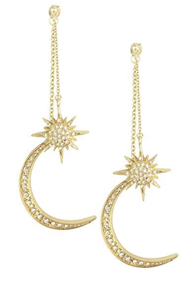 $10.99---Mina Gold Sun and Crescent Moon Rhinestone Long Mis-Matched Adjustable Removable Asymetrical Earring Ear Jackets