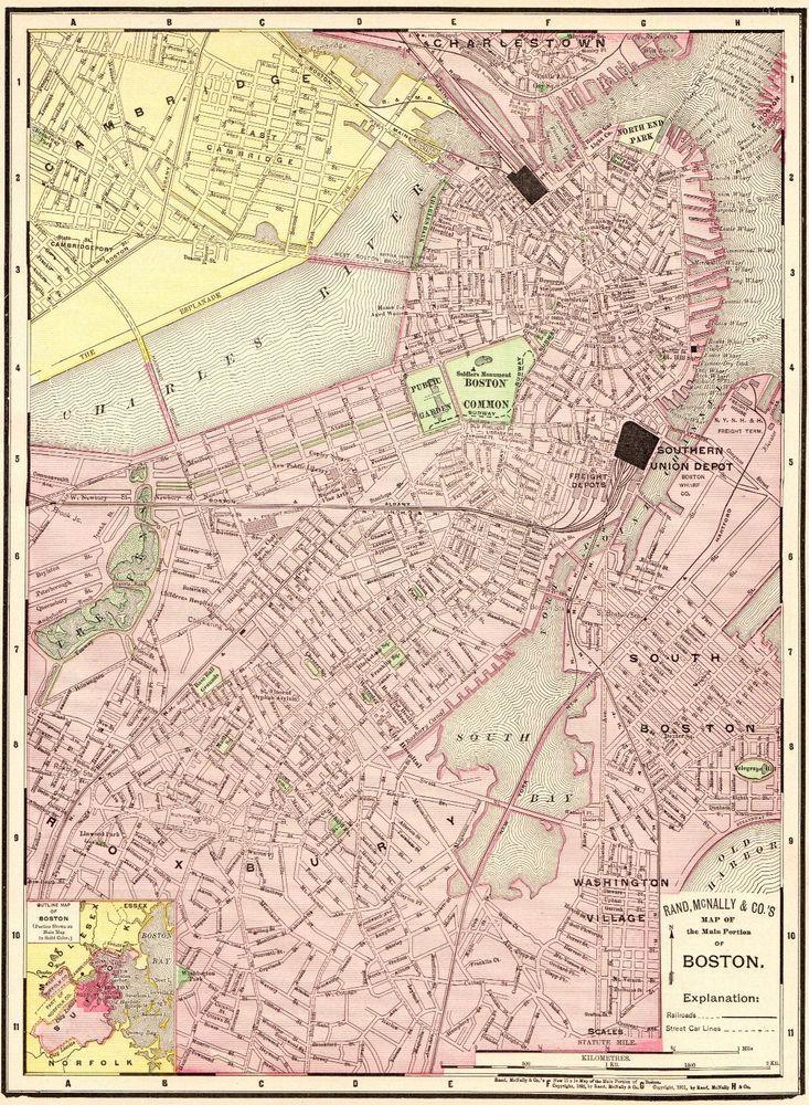 Antique BOSTON Map Vintage Map Of Boston Massachusetts City Map - Antique boston map