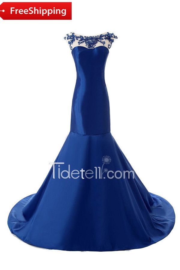 Gorgeous Mermaid Scoop Neck Cap Sleeve Taffeta Long Prom Dress With Beading