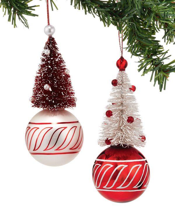 Look at this Peppermint Forest Christmas Tree on Ball Ornament Set on #zulily today!