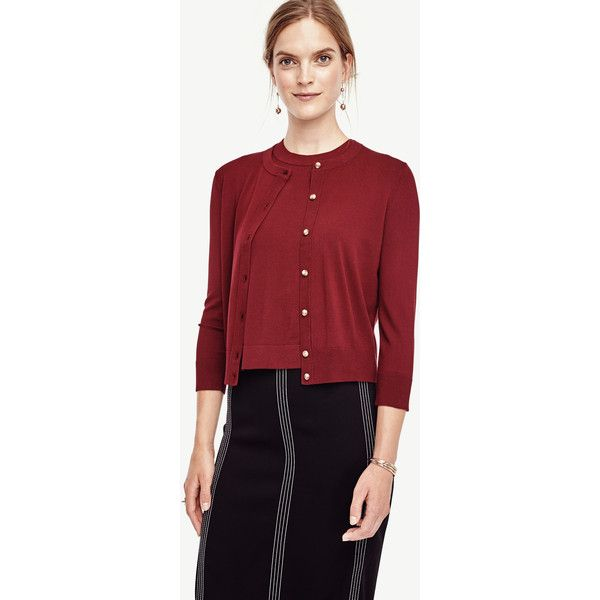 Ann Taylor Cropped Ann Cardigan ($70) ❤ liked on Polyvore featuring tops, cardigans, tawny port, crewneck cardigan, crop top, cut-out crop tops, j.crew cardigan and red cropped cardigan