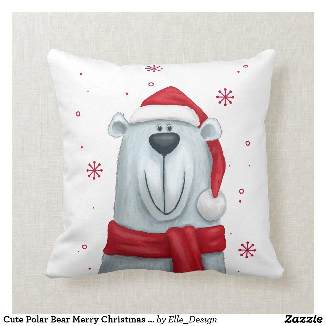 Cute polar bear merry christmas decorative throw pillow