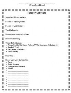 table of contents for property binder planner file design
