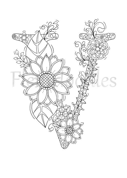 adult coloring page floral letters
