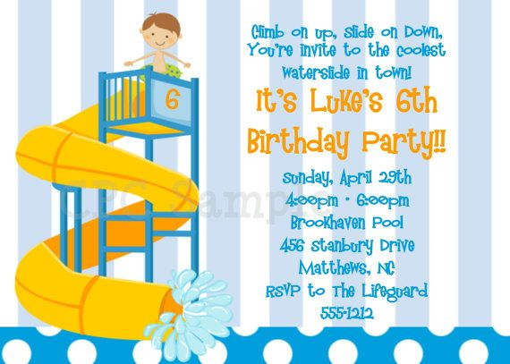 Pool Party Invitations Twins Siblings Pool by CutiesTieDyeBoutique – Boys Party Invite