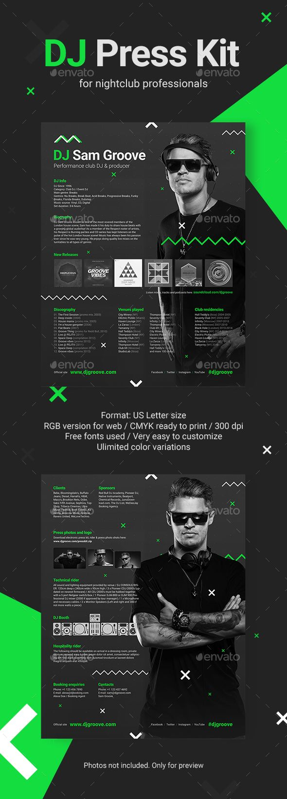 GrooveLine DJ Press Kit / DJ Resume / DJ Rider PSD Template ...