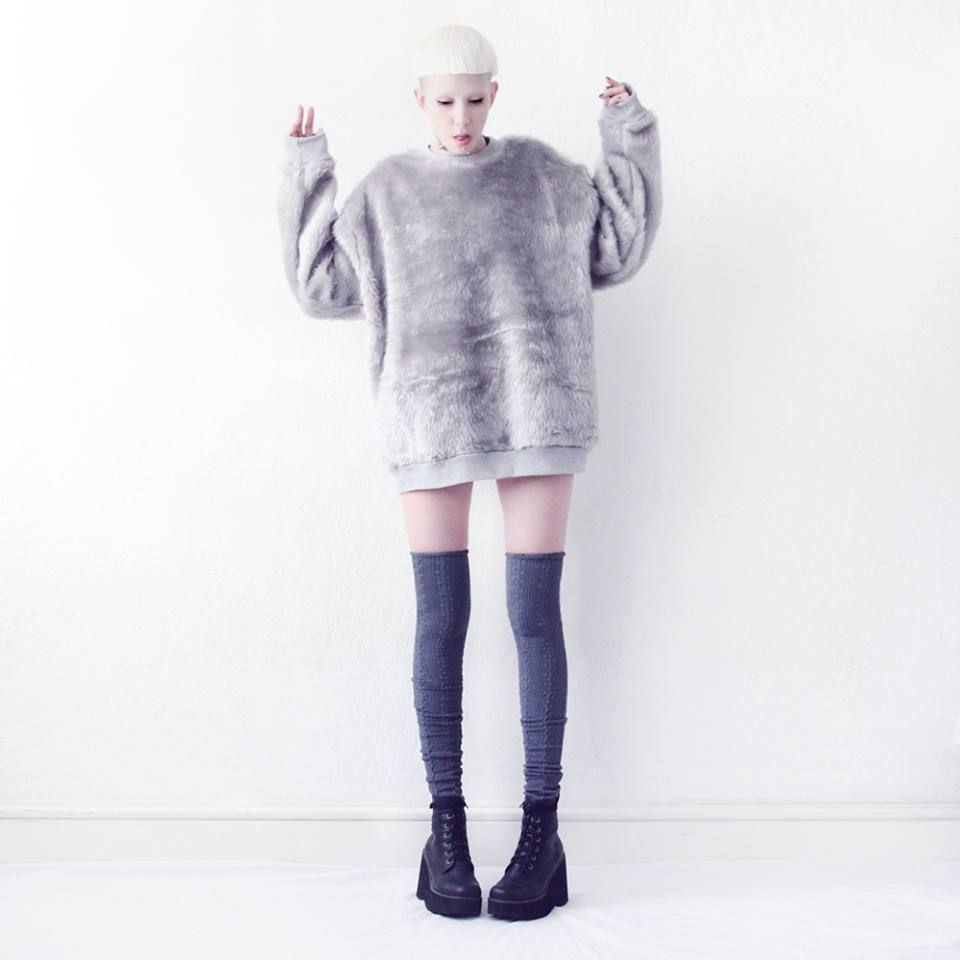 GREY FAUX FUR SWEATER £50 http://www.mindthemustard.com/collections/ice-queen #fashion #style #model #ootd #wiwt #fblogger #londonfashion #tokyo #onlineshopping