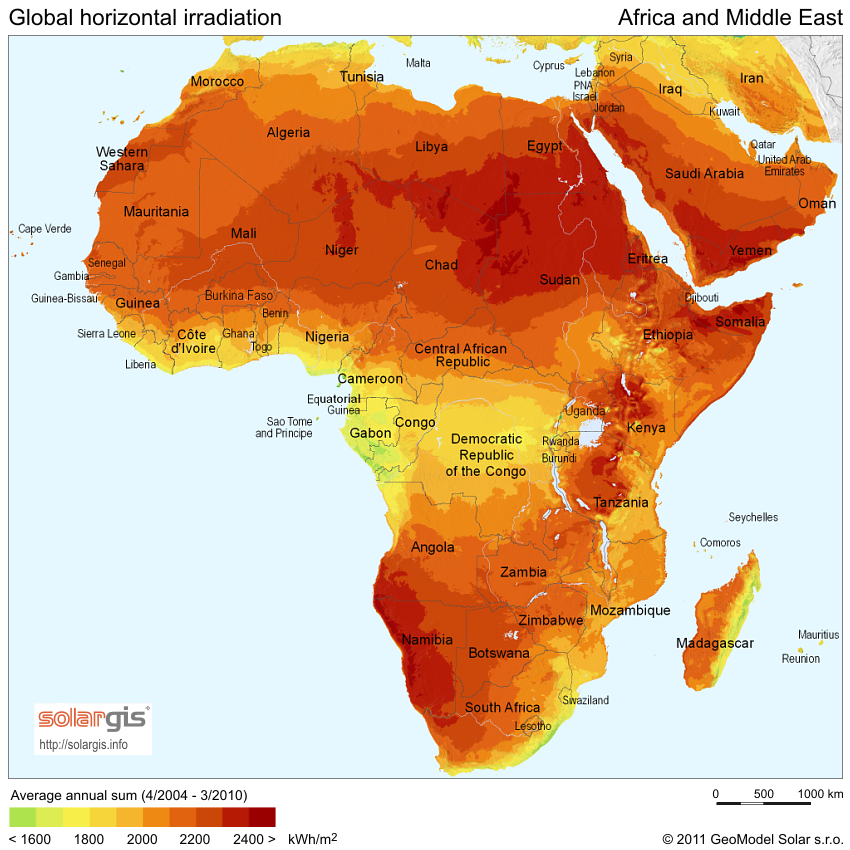 Solar insolation daily solar hours map of Africa and the Middle