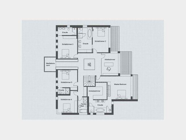 grundriss og designhaus patel von baufritz 5 schlafzimmer mit eigenem bad sowie der master. Black Bedroom Furniture Sets. Home Design Ideas