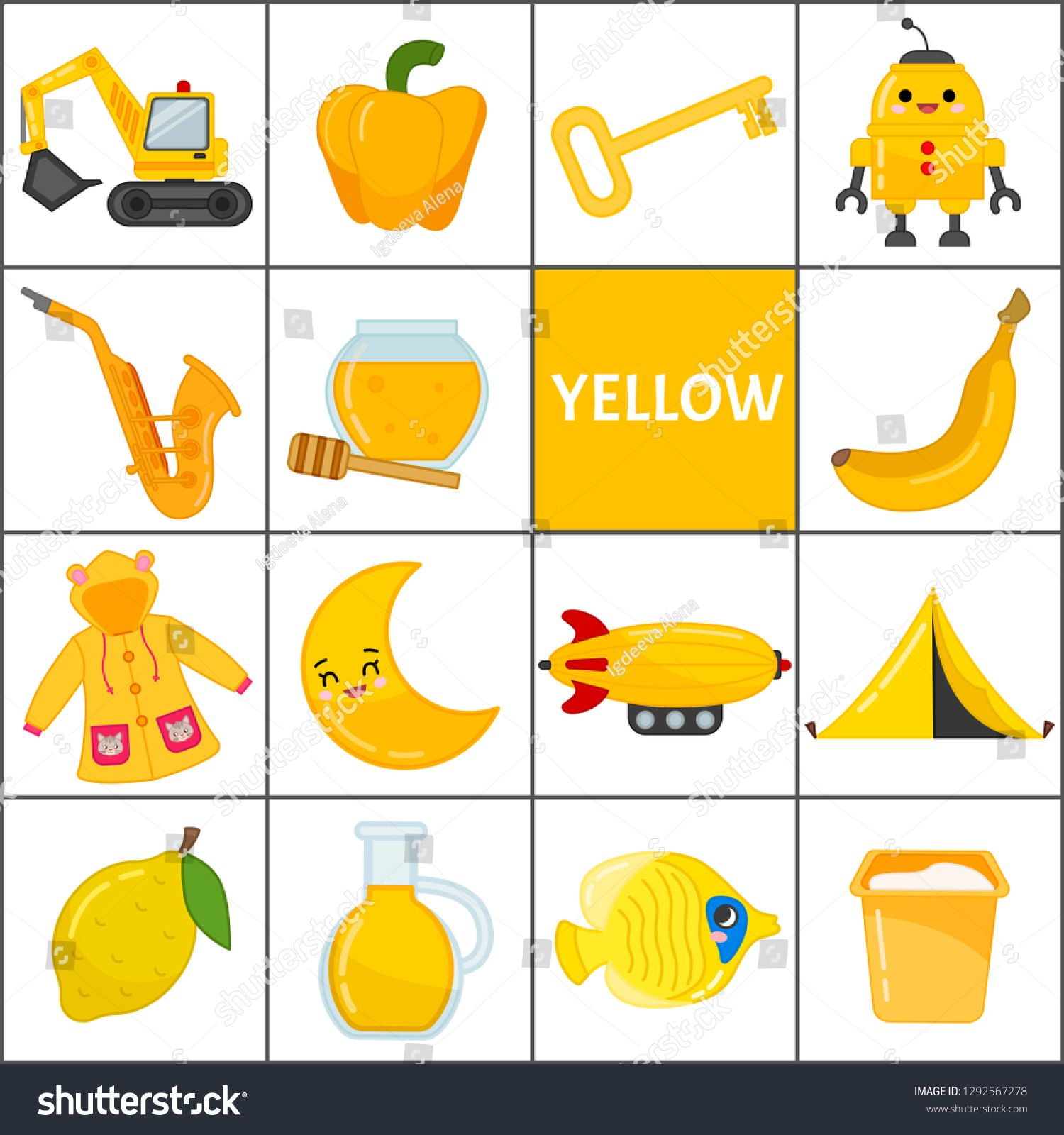 Learn The Primary Colors Yellow Different Objects In