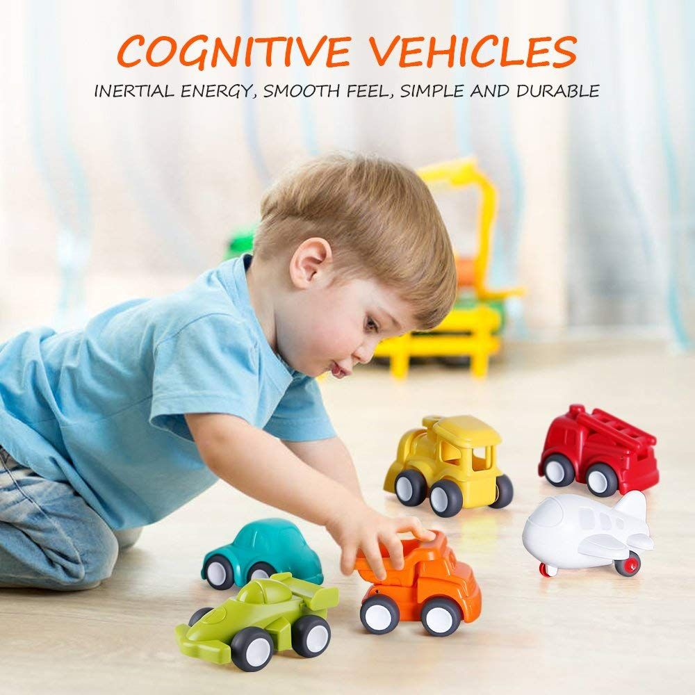 Vatos Toddler Car Toys 6 Pack Toy Cars Free Wheel City Traffic Little Cars 1 Year Old Push Go Baby Educational Toys For Toddlers Discovery Toys Toddler Car