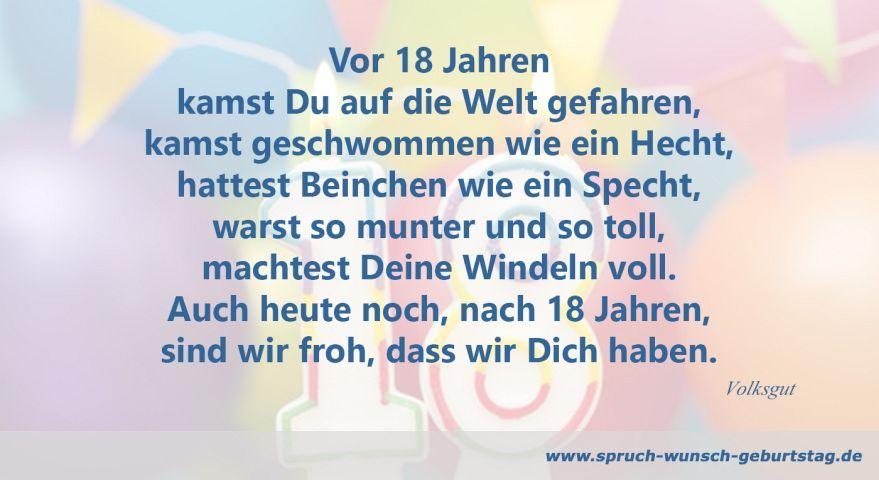 Vor 18 Jahren Geboren 18 Geburtstag Spruch Spruche Zum Geburtstag Geburtstag