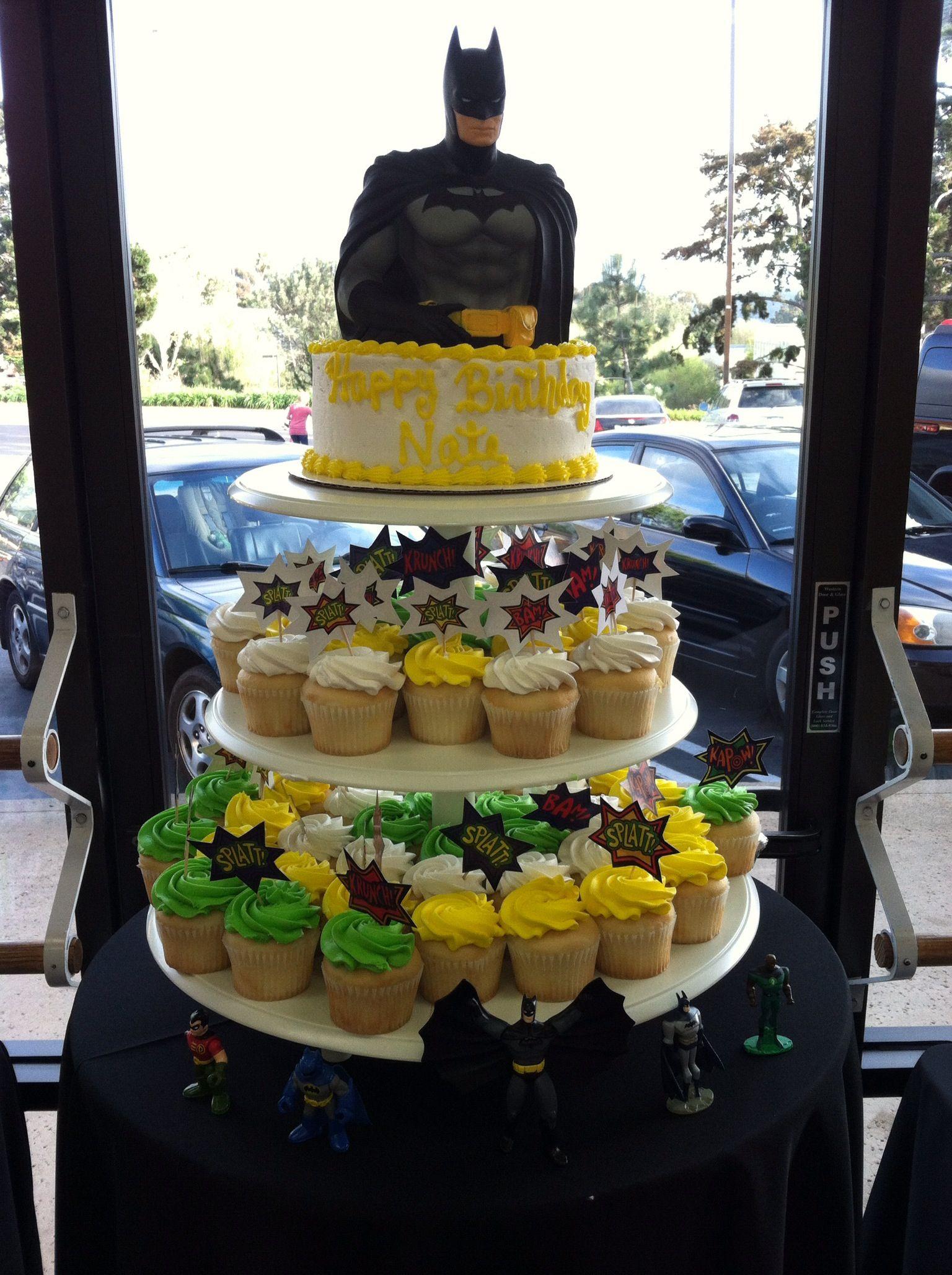 Cupcake Tower Cartoon cake, Food, Batman cake