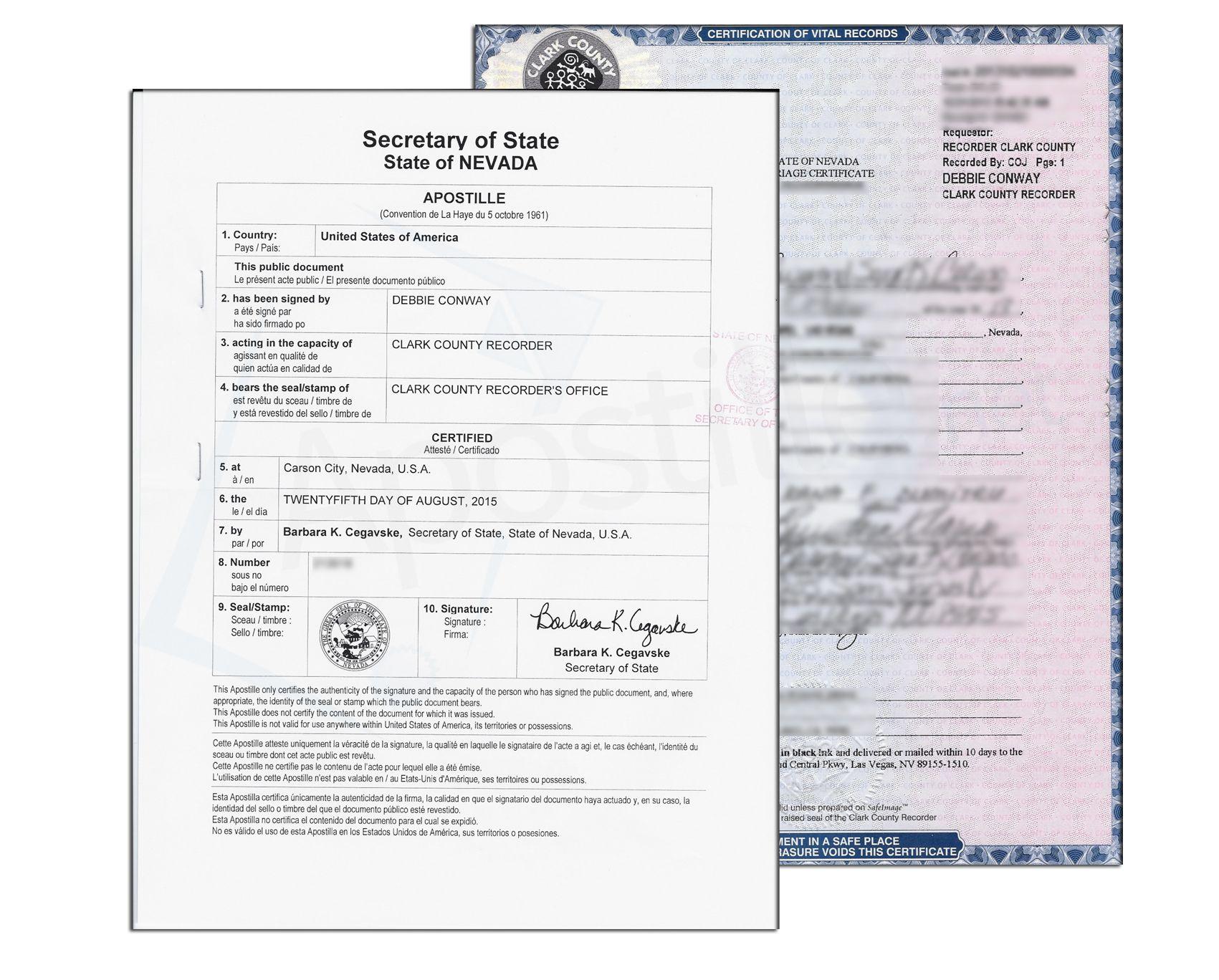 State of Nevada Corporate Charter Certificate issued by Barbara K ...
