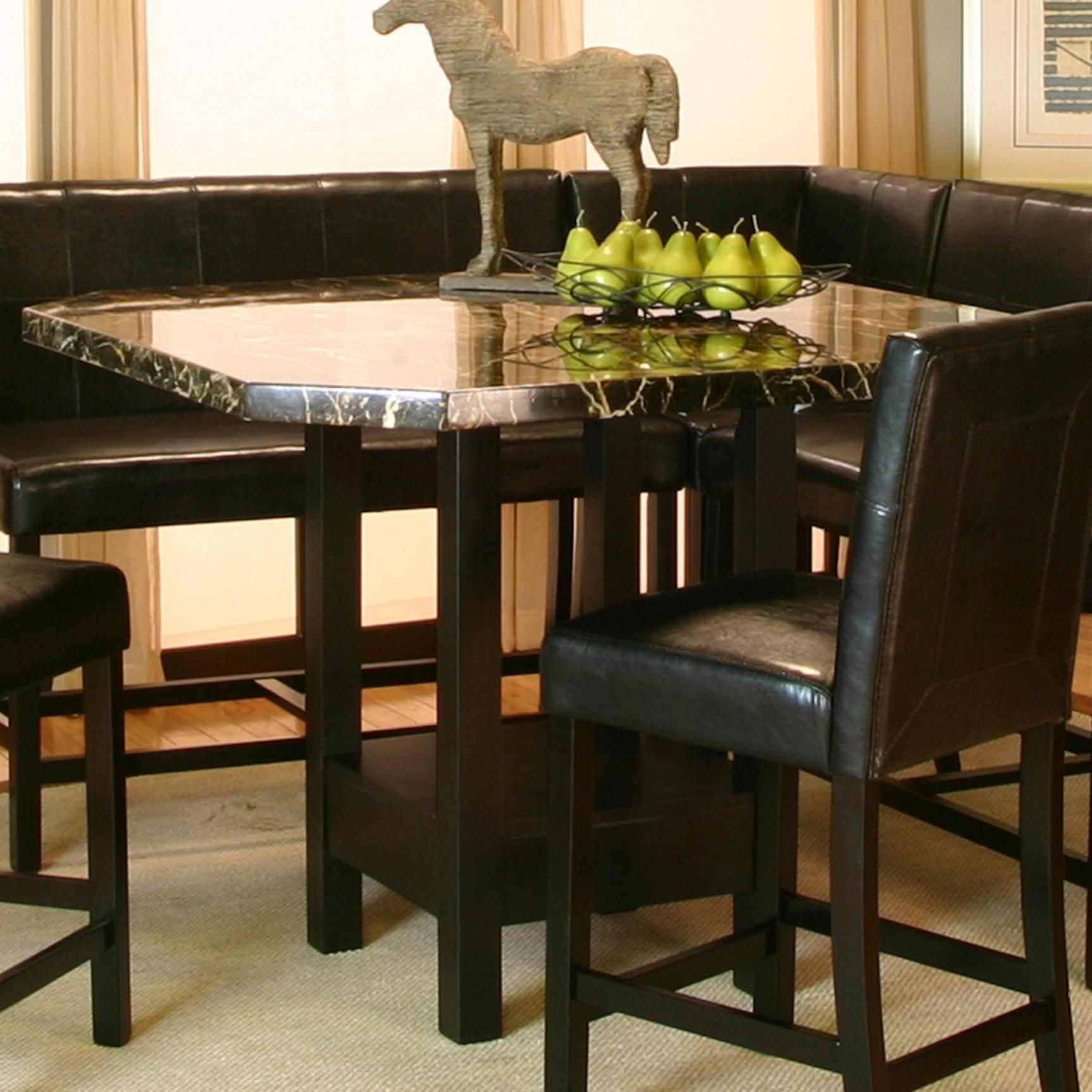 Pub Table With Chairs And Bench Country Style Dining Chatham Square Clipped Corner W Faux Marble Top