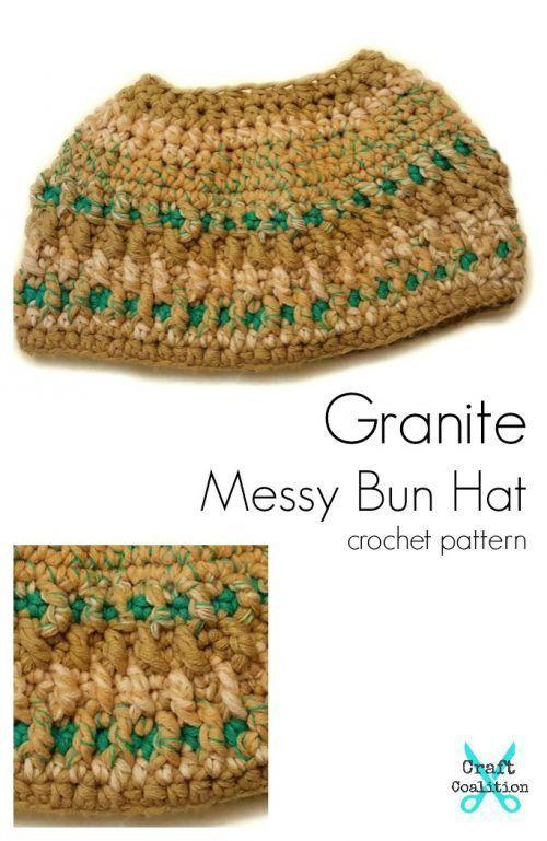 Granite Messy Bun Hat free crochet pattern by Mistie Bush for ...