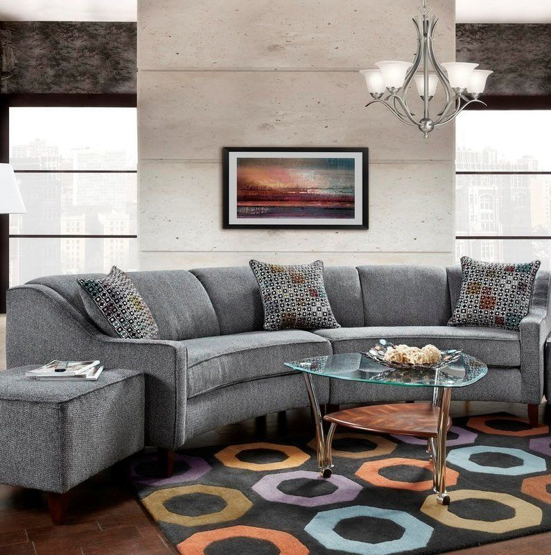 Gray curved living room set   Curved sofa living room ...