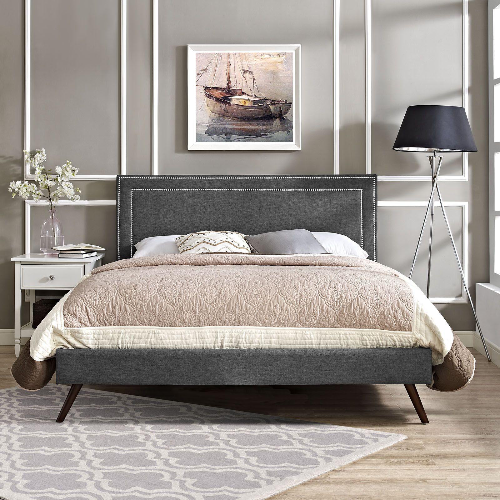 Jessamine Full Fabric Platform Bed With Round Splayed Legs. Wood SlatsBox  ...