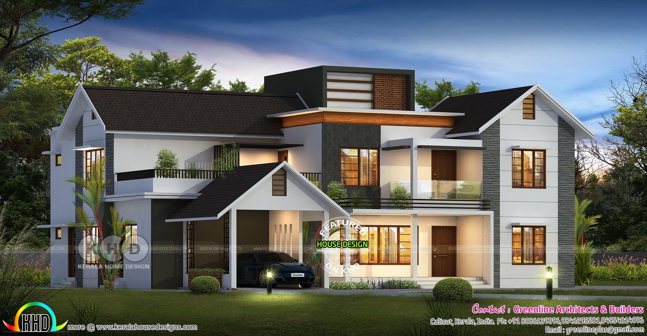 5 bedroom modern mixed roof luxury home design   Kerala ...