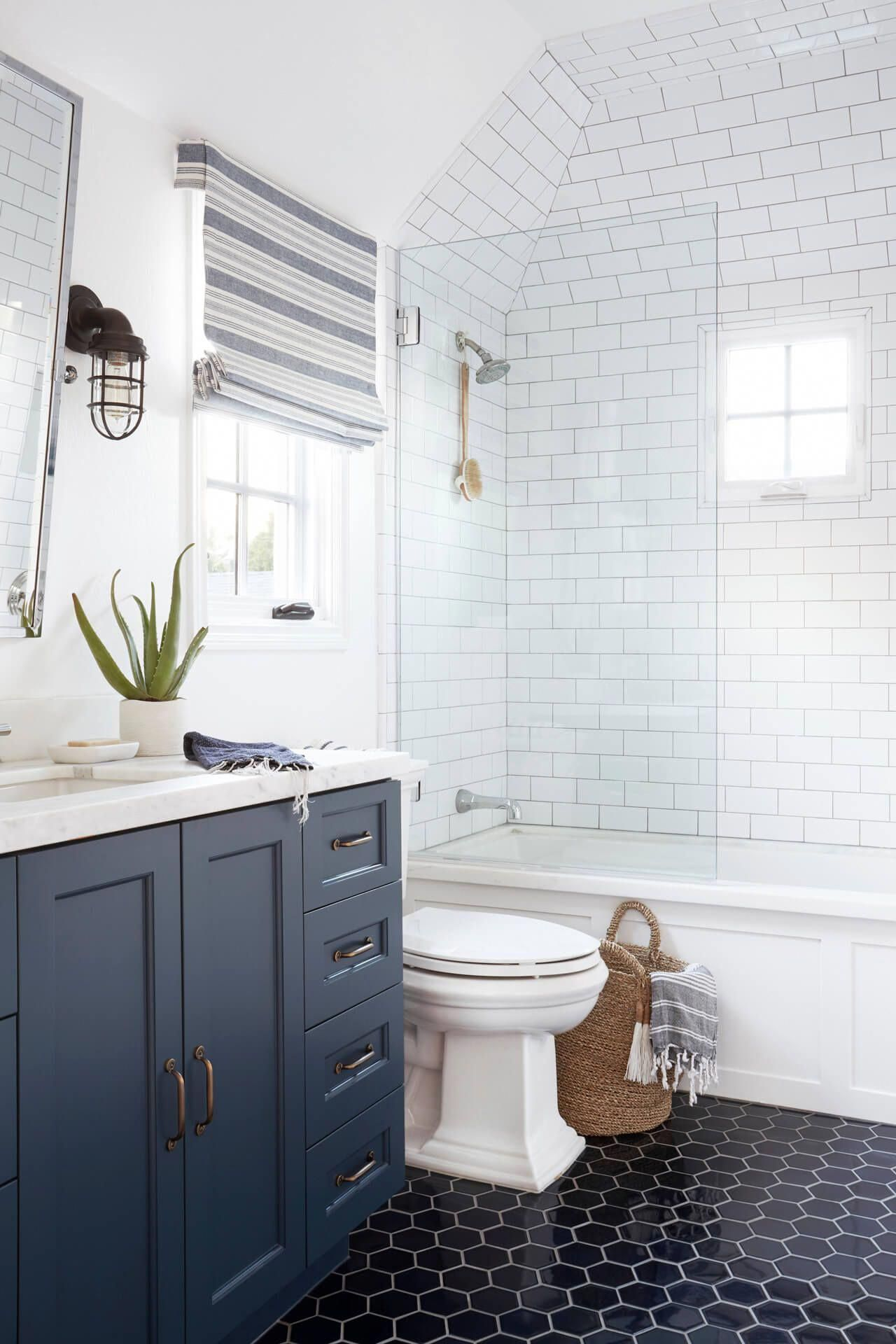 7 Pretty Bathroom Floor Tile Ideas To Pin Even If You Re Not Remodeling Hunker Bathroom Floor Tiles Pretty Bathrooms Bathroom Interior Design