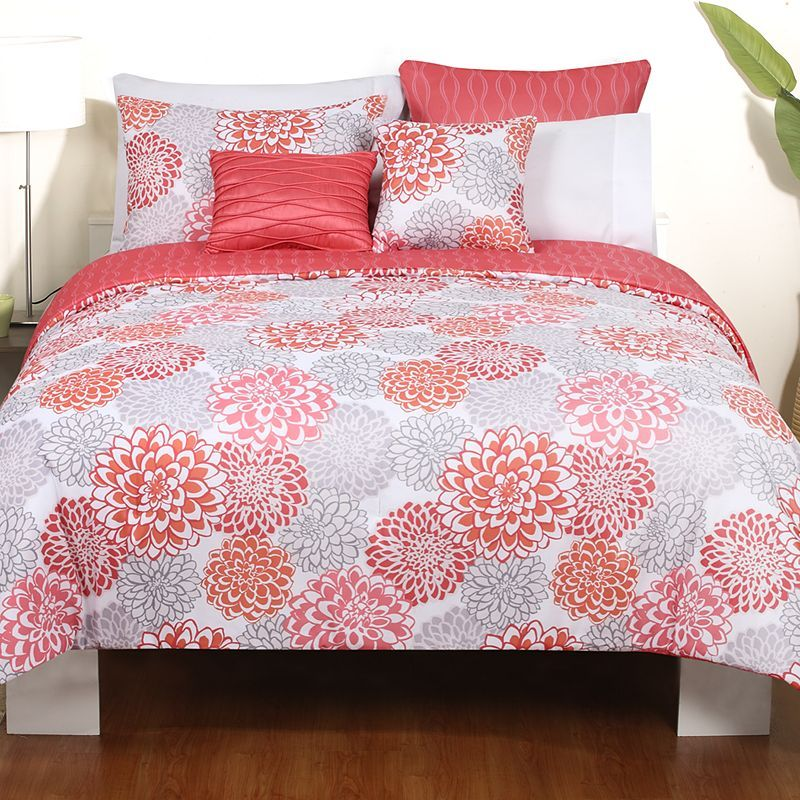 Coral And Grey Bedding Sets