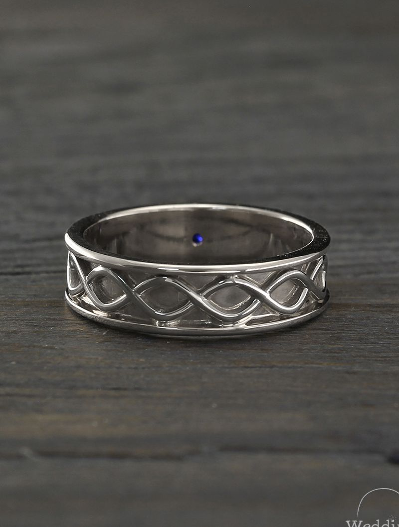 Mens infinity wedding band with sapphire, Infinity silver