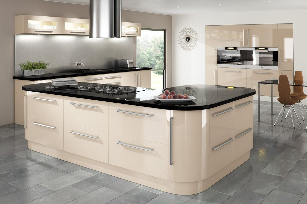 Cream gloss kitchen kitchen ideas pinterest cream for Coloured kitchen units uk