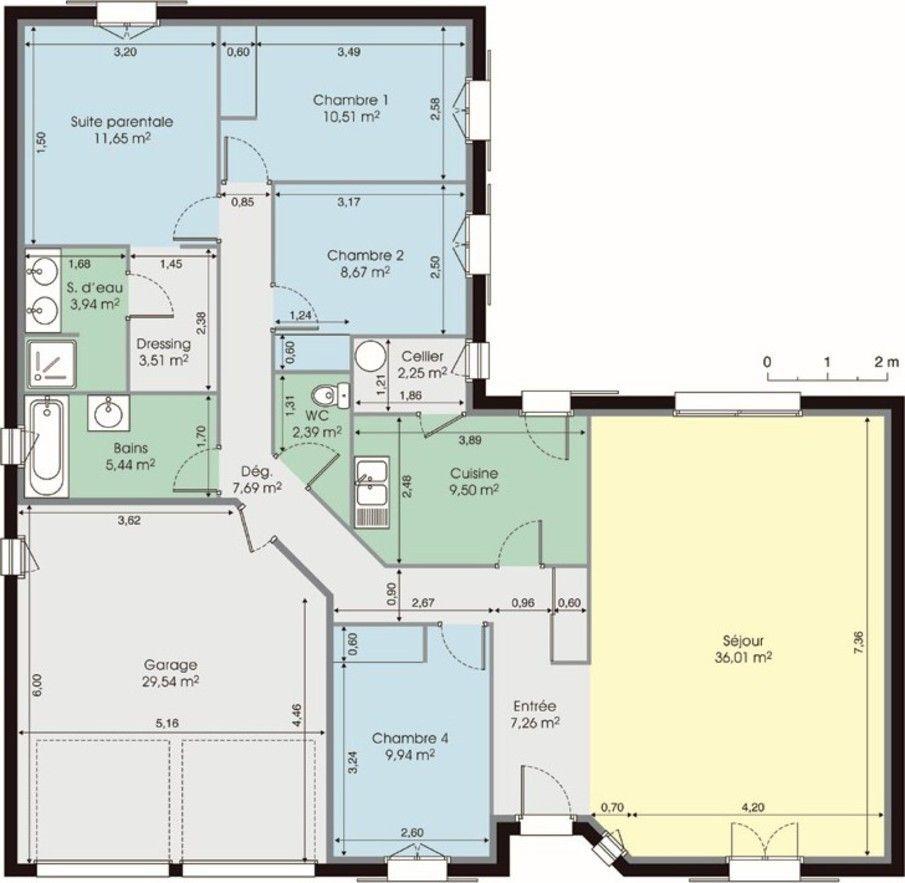 Maison de plain-pied | House layouts, Bungalow and House