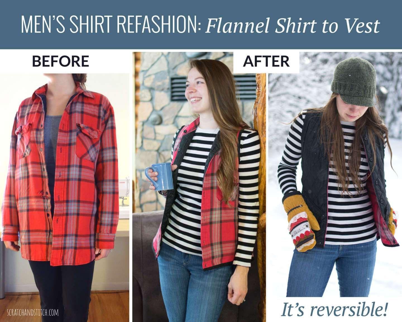 Flannel shirt ideas   Menus button down shirt refashion ideas  Upcycle clothes