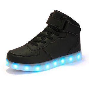AFFINEST Haut-dessus chargement USB LED chaussures clignotant chaussures de sport  pour les enfants 56e52cac0cf