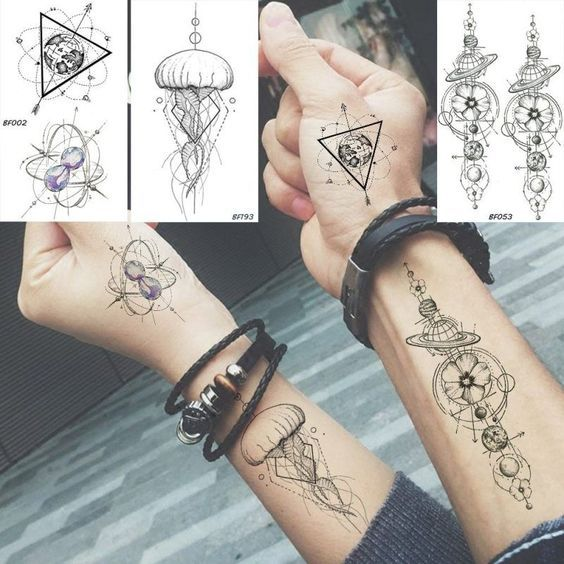 Baofuli Waterproof Temporary Sticker Geometric Planet Jellyfish Tattoo Black Triangle Tattoos Body Arm Men Fake Tatoos Chains -   - #Arm #baofuli #black #Body #chains #Fake #geometric #jellyfish #Men #planet #sticker #tatoos #tattoo #tattooantebrazo #tattooarm #tattoos #temporary #traditionaltattoo #Triangle #waterproof