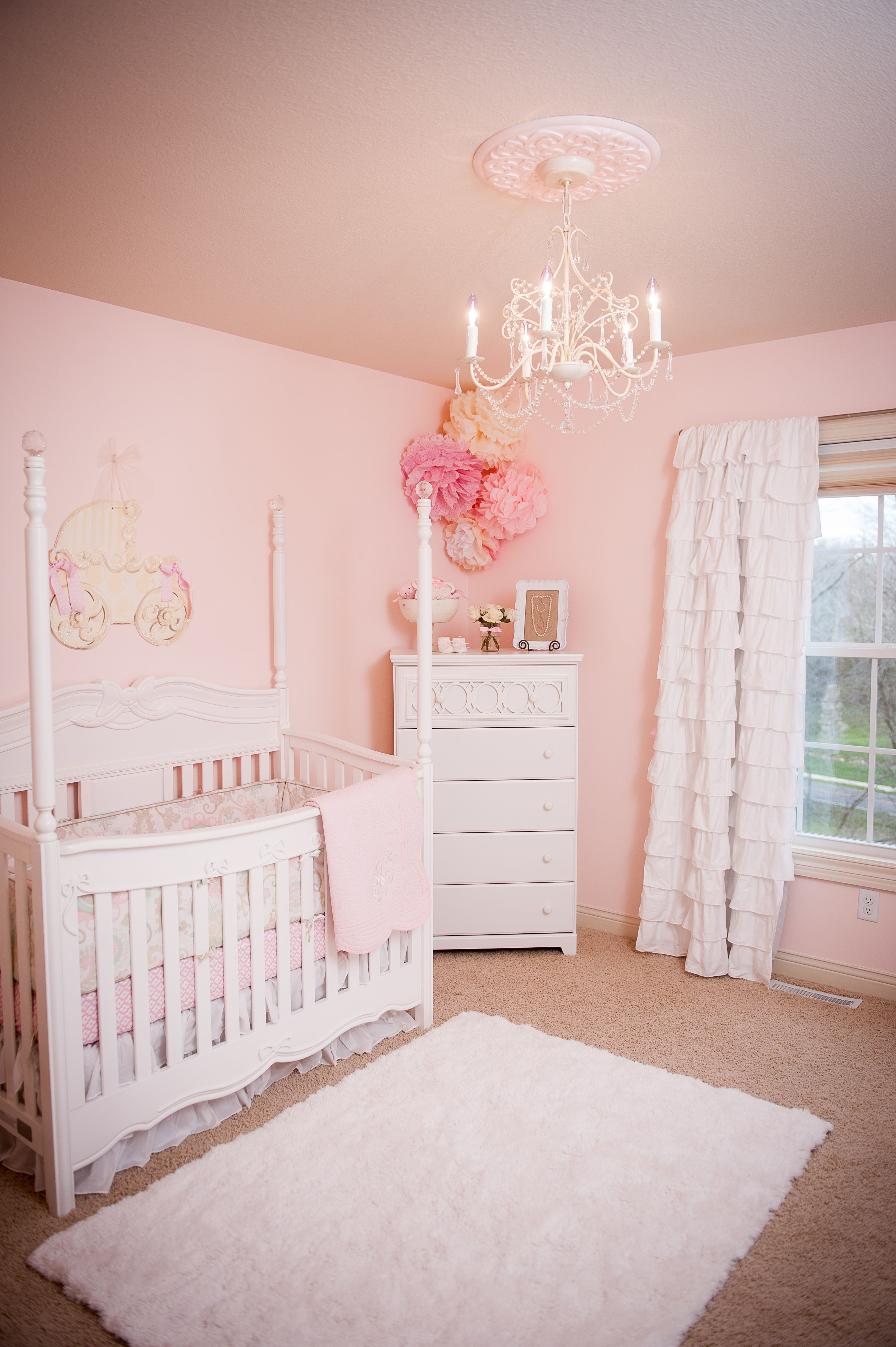 Lolas nursery soft pink princess canopy crib baby girl pink chandeliers for baby rooms within vintage girl nursery silver metal canopy crib soft photo 963 lighting design and chandeliers arubaitofo Images
