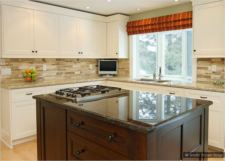 Yellow Backsplash With White cabinets | beige cabinet ornamental granite  travertine backsplash