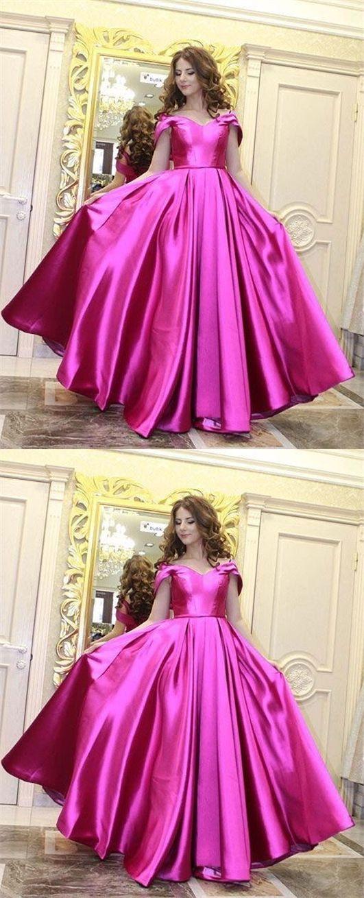 elegant off the shoulder prom dress with pleats, fashion fuchsia ...