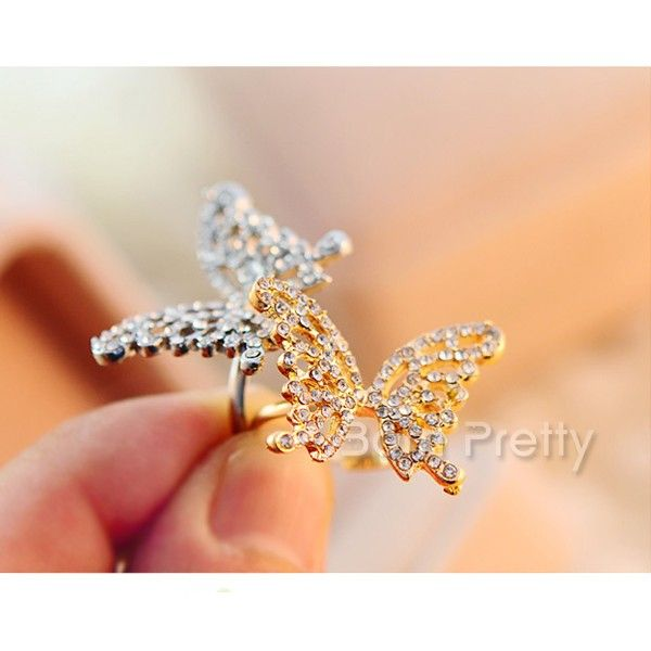 Cute butterfly ring! Use my code AAX31 for 10% off your order  @BornPrettyStore, Delicate Rhinestone Studded Open Ring Butterf... at $1.99. http://www.bornprettystore.com/-p-13744.html