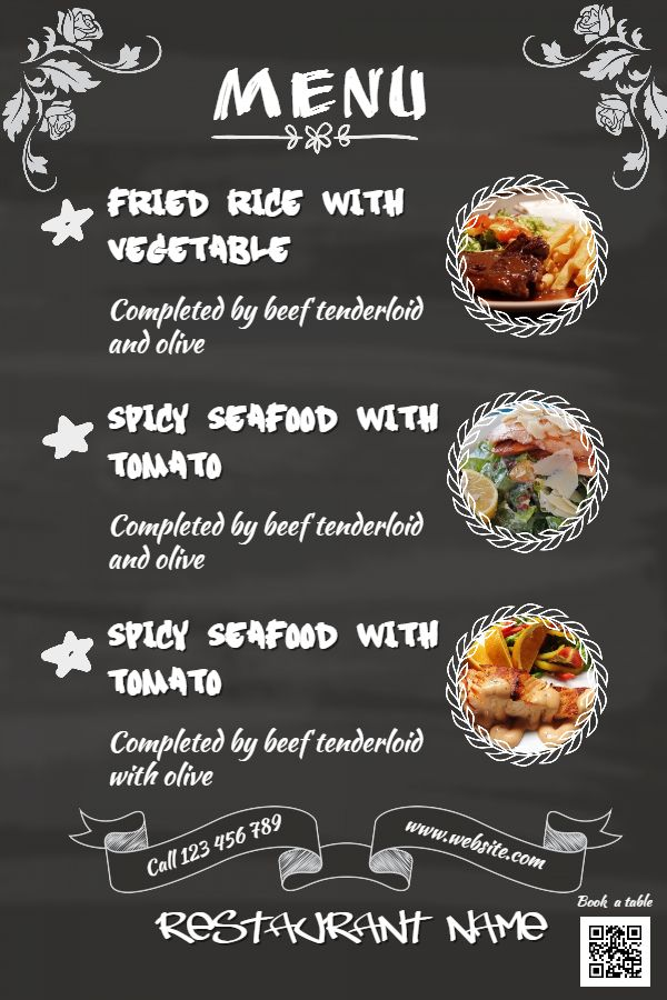 Chalkboard Menu Template Click To Customize  Menu Templates