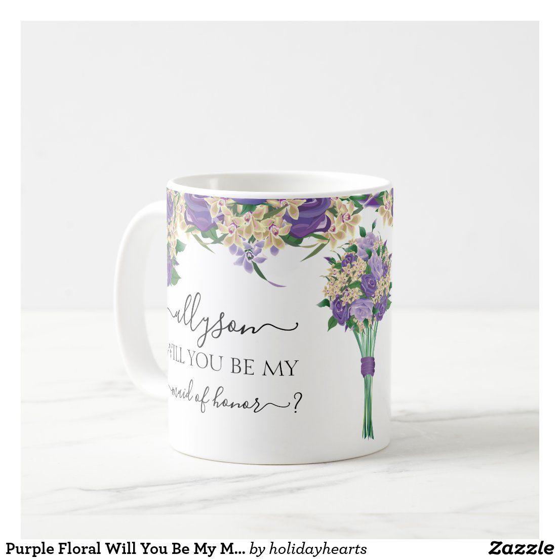 Lila Blumenwille sind Sie meine Trauzeugin Kaffeetasse