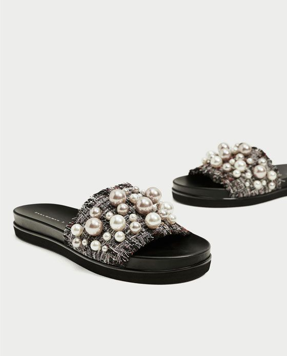 low priced aa911 23669 Image 4 of SLIDES WITH FAUX PEARLS from Zara Pala, Pearl Shoes, Strappy  Sandals
