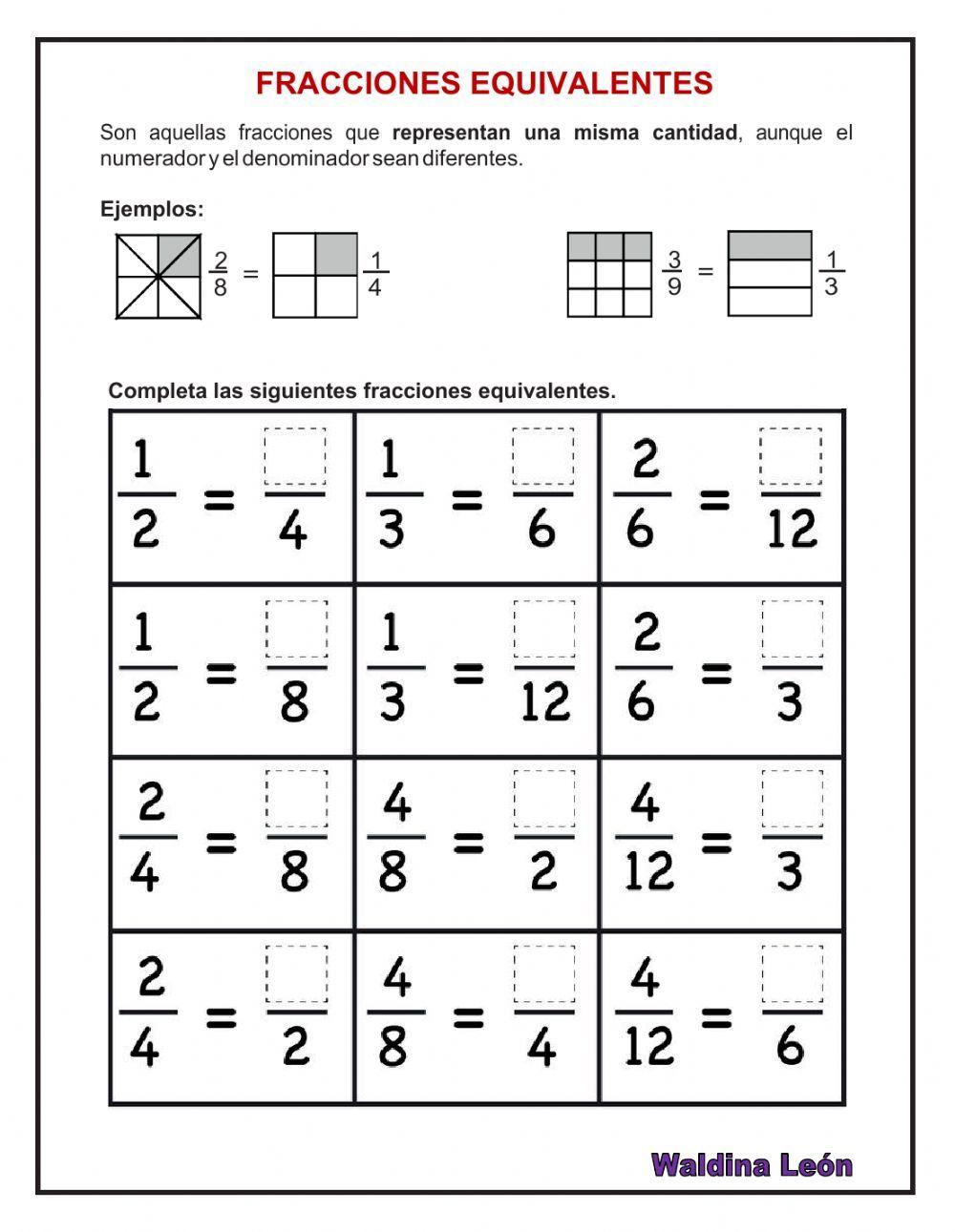 Fracciones Equivalentes Ficha Interactiva Fracciones Para Primaria Ejercicios De Fracciones Fracciones