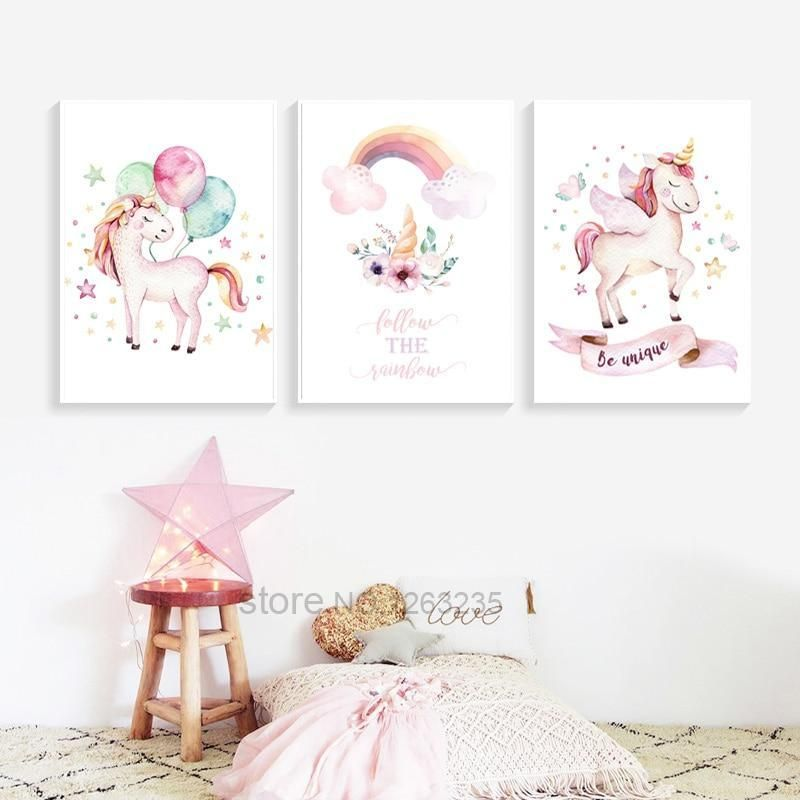 Trending Unicorn Accessories Bedding Sets Clothing And Other Products Art Wall Kids Unicorn Room Decor Baby Girl Wall Art