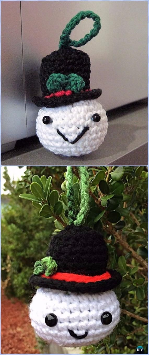 Crochet Snowball Christmas Ornament Free Pattern - Amigurumi Crochet Snowman Stuffies Toys Free Patterns