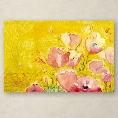 """Trademark Art """"Pink Poppy Field"""" by Sheila Golden Painting Print on Wrapped Canvas Size: 16"""" H x 24"""" W x 2"""" D"""