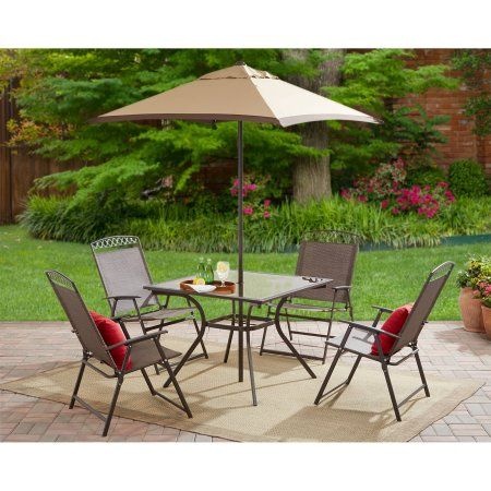 Mainstays Butler Heights 6 Piece Steel Sling Folding Set Walmart