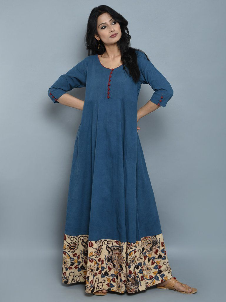 da3d13c90244 Indigo Cotton Flared Maxi Dress