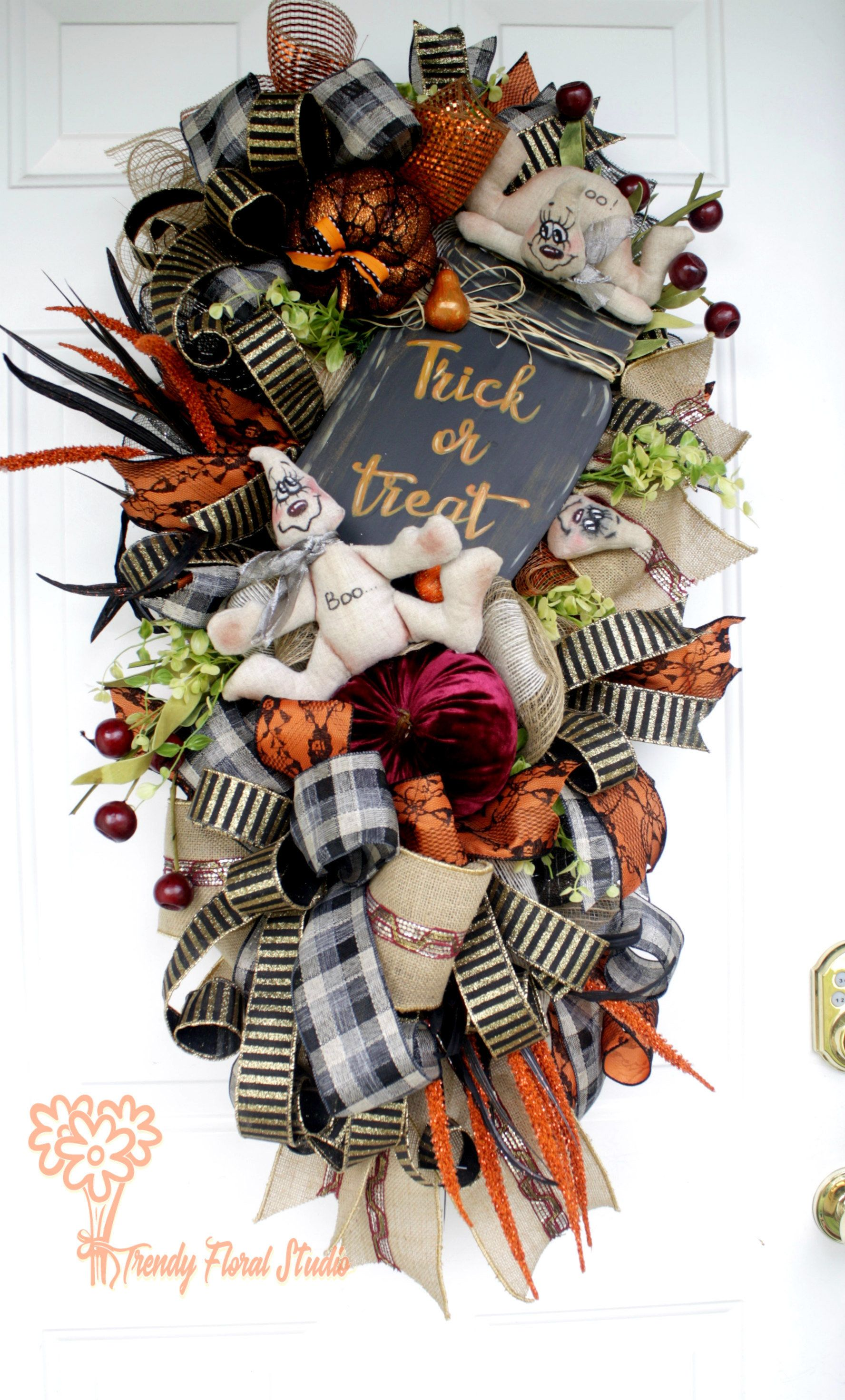 Halloween Wreath, Fall Wreath, Halloween Swag, Whimsical Wreath - Whimsical Halloween Decorations