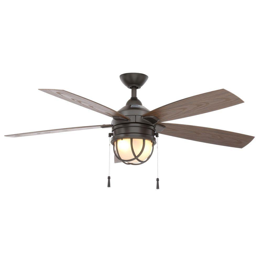 Hampton Bay Seaport 52 In Indoor Outdoor Natural Iron Ceiling Fan