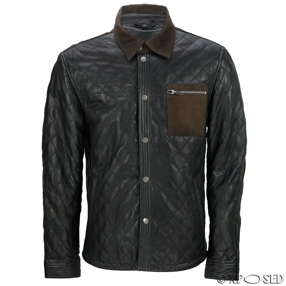3efabc18190 Men's Black Soft Real Quilted Leather Shirt Brown Suede Trim Collar ...