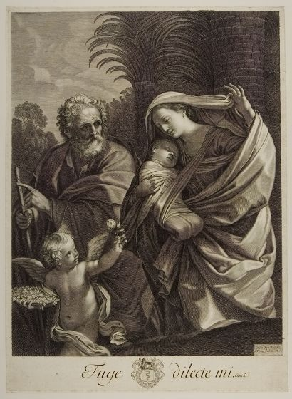 François de Poilly the Elder French (1622/23 - 1693) After Guido Reni Italian (Bologna 1575 - 1642 Bologna) Flight into Egypt Print French , 17th century Engraving