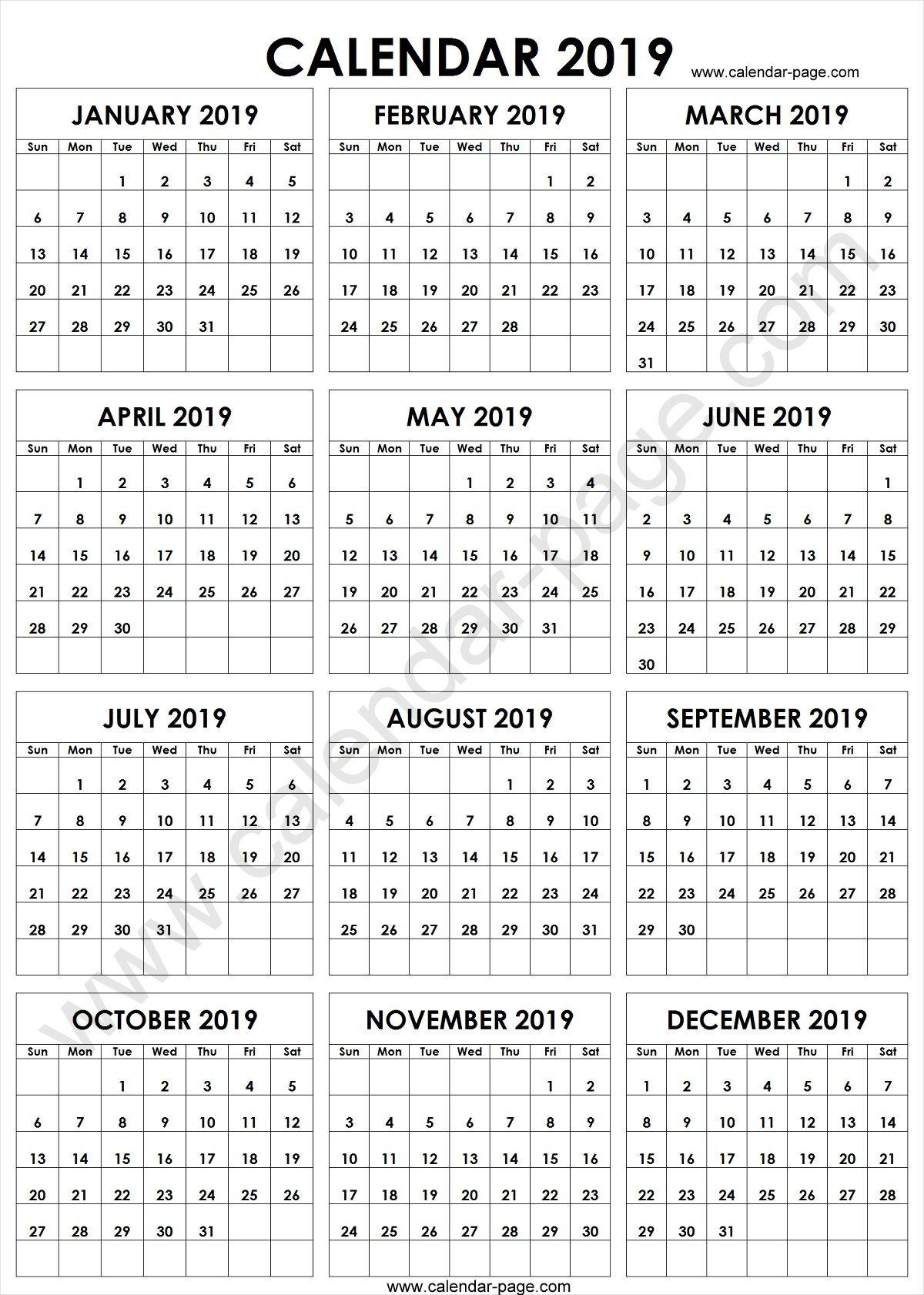 a4 2019 year calendar